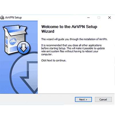 Capture d'écran de l'assistant d'installation d'AirVPN Windows