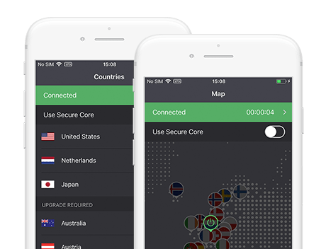 Capture d'écran de l'application mobile de ProtonVPN Free