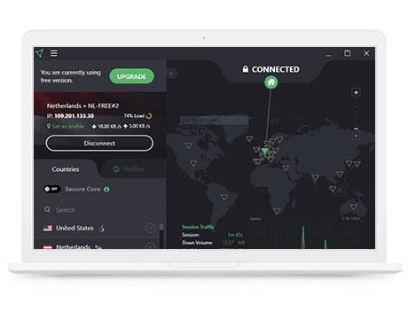 Capture d'écran de l'application de bureau de ProtonVPN Free