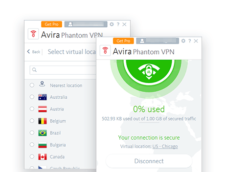 Avira Phantom VPN Free desktop screenshots