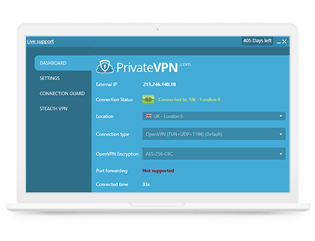 Application PrivateVPN sur le bureau Windows