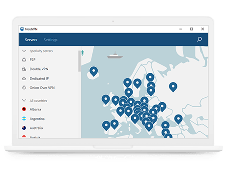 Aplicația NordVPN pe desktopul Windows