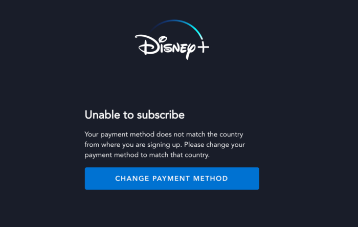 Skärmdump av Disney + registreringsblock