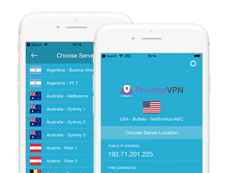 PrivateVPN-skjermbilde for mobilapp
