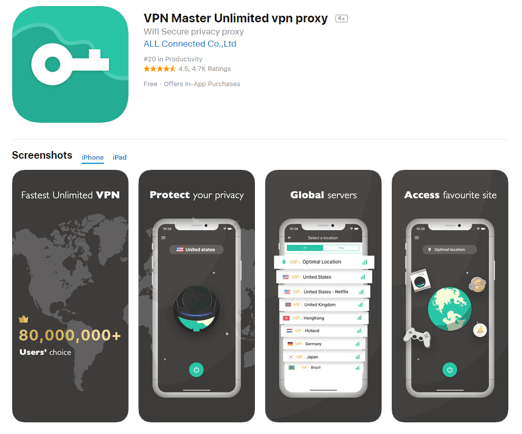 VPN Master Unlimited - Screenshot App Store
