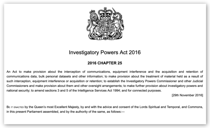 Screenshot z Investigatory Powers Act 2016