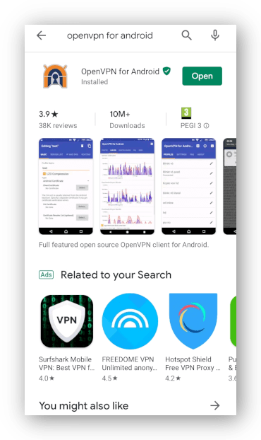 Skjermbilde av OpenVPN for Android-app installert i Google Play Store