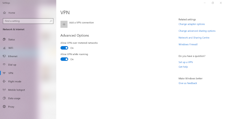 Snimak ekrana postavki VPN-a za Windows