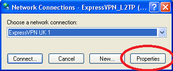 Screenshot de Windows Dialers pentru ExpressVPN