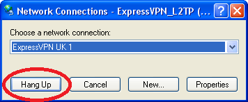 Screenshot al ultimilor pași pentru configurarea ExpressVPN pe Windows XP