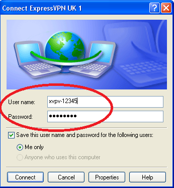 Screenshot of Username and Password entry for ExpressVPN ve Windows Dialers