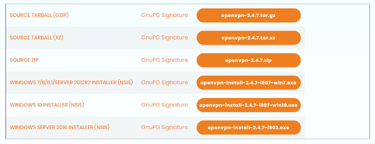 Screenshot der OpenVPN-Community-Downloadseite