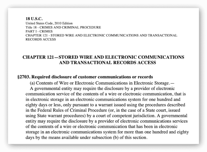 Auszug aus dem Stored Communications Act 2010