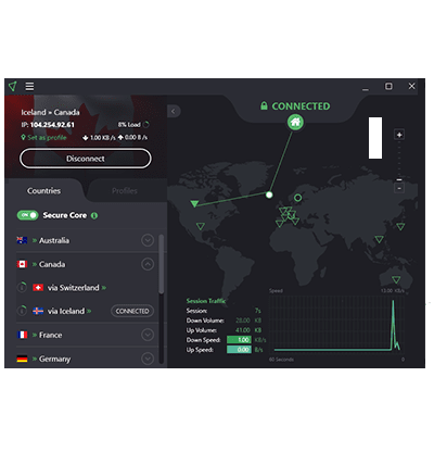 لقطة شاشة لإعداد ProtonVPN Secure Core