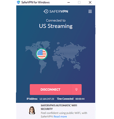 Schermata dell'app desktop SaferVPN connessa