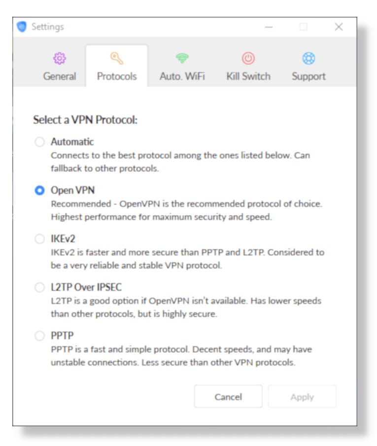 Captura de tela das configurações do protocolo SaferVPN no aplicativo