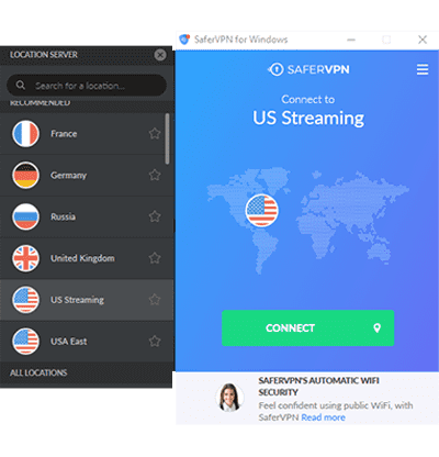 Captura de tela da tela principal do SaferVPN Desktop App