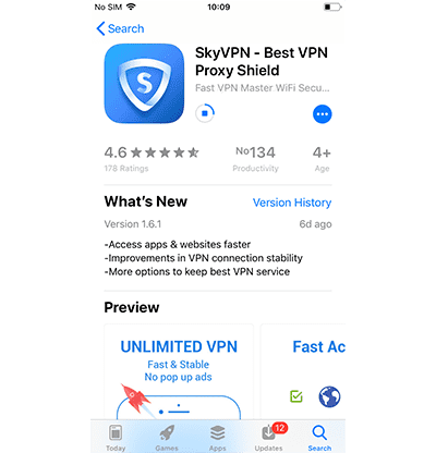 Schermata che mostra l'avanzamento del download di SkyVPN su dispositivo mobile