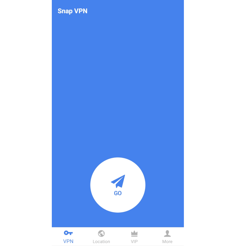 Capture d'écran de l'écran principal de l'application Snap VPN