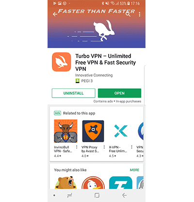 Turbo VPN профил в Google Play в нашия Turbo VPN VPN преглед